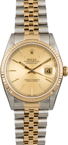 Rolex Datejust 16233 Two Tone with Champagne Tapestry Dial