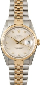 Used Rolex Datejust 16233 Silver Diamond Dial