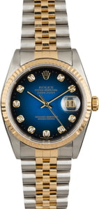 Used Rolex Datejust 16233 Blue Vignette Diamond Dial