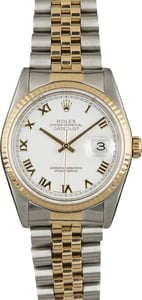 Used Rolex Datejust 16233 White Dial Roman Markers
