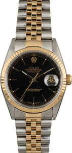 Datejust Rolex 16233 Black Dial Certified Pre Owned
