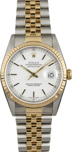 Rolex Datejust 16233 Two Tone with White Index Dial