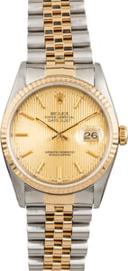 Pre Owned Rolex Datejust 16233 Champagne Tapestry Index Dial