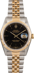 Rolex Datejust 16233 Black Dial Two Tone Jubilee