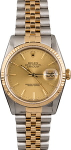 PreOwned Rolex Datejust 16233 Champagne Index Dial 36MM