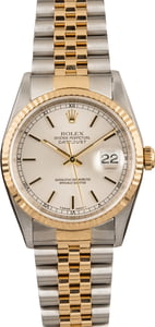 Pre Owned Rolex Datejust 16233 Silver Index Dial