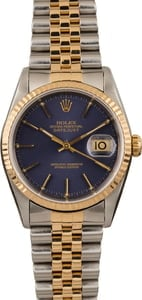 Pre-Owned Rolex Datejust Two Tone 16233 Blue Dial