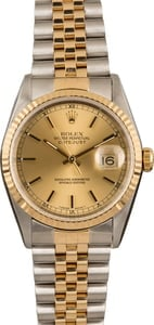 Used Rolex Datejust Two Tone 16233 Champagne Dial