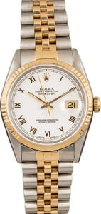 Rolex Datejust 16233 Two Tone, White Roman Fluted Bezel, Circa 1994