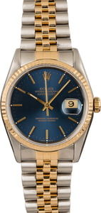 Pre-Owned Rolex Two Tone Datejust 16233 Blue Dial