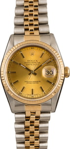 Men's Rolex Two Tone Datejust 16233 Champagne Index Dial