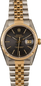 Pre-Owned 36MM Rolex Datejust 16233 Black Tapestry Dial