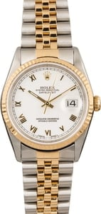 Pre-Owned Rolex Datejust Two Tone 16233 White Roman Dial