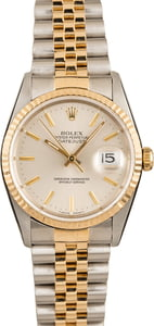 Pre-Owned Rolex 16233 Datejust Silver Dial