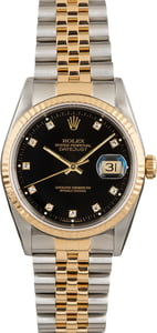 Used Rolex Datejust 16233 Black Diamond Dial