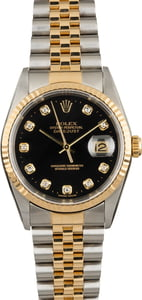 Pre Owned Rolex Datejust 16233 Black Diamond Dial