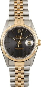 Pre Owned Two-Tone Rolex Datejust 16233 Black Tapestry