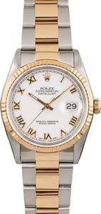 Pre Owned White Roman Dial Rolex Datejust 16233