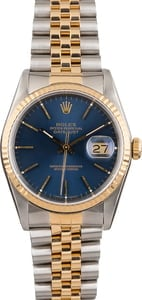 Pre Owned Rolex Datejust 16233 Two Tone Blue Dial