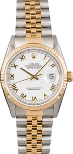 Pre Owned Rolex Datejust 16233 White Roman