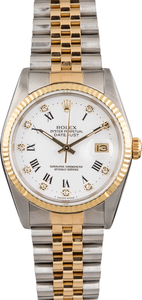 Used Rolex Datejust 16233 White Diamond Roman Dial