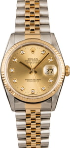 Used Rolex Datejust 16233 Champagne Diamonds