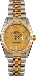 Pre-Owned Rolex Datejust 16233 Linen Dial