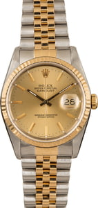 Used Rolex Datejust 16233 Champagne Index Watch