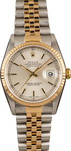 Pre-Owned Rolex 16233 Datejust Silver Index Dial