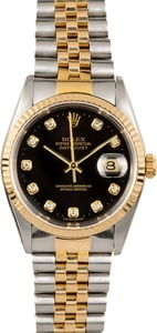 Two-Tone Rolex Datejust 16233 Black Diamond Dial