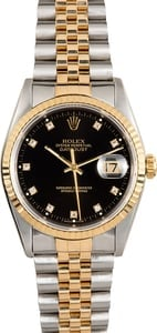 PreOwned Rolex Datejust 16233 Black Diamond Dial