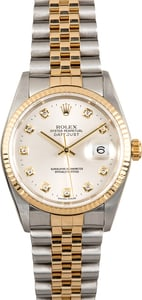 Rolex Datejust 16233 Silver Diamond Dial