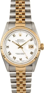 Rolex Datejust 16233 White Roman Dial 100% Authentic