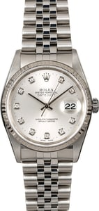 Rolex Datejust 16234 Diamond Silver Dial