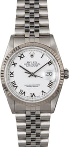Men's Rolex Datejust 16234 White Roman Dial