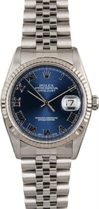 Men's Rolex Datejust 16234 Blue Roman Dial