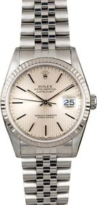 Rolex Datejust 16234 Silver Tapestry Index Dial