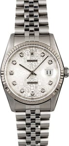 Men's Rolex Datejust 16234 Silver Diamond Jubilee Dial