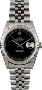 Rolex Datejust 16234 Black Dial Steel Jubilee