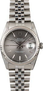 Steel Rolex Datejust 16234 Slate Tapestry Dial