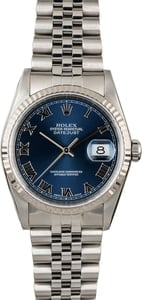 Used Rolex Datejust 16234 Blue Roman Dial