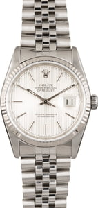 Used Rolex Datejust 16234 Silver Tapestry Index Dial