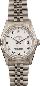 Pre-Owned Rolex DateJust 16234 White Roman Dial Fluted Bezel
