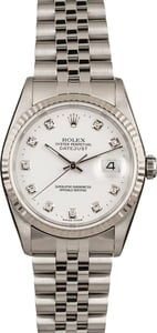Pre-Owned Rolex Datejust 16234 White Diamond Dial