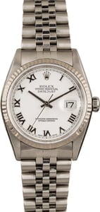 Used Rolex DateJust 16234 White Roman Dial Fluted Bezel
