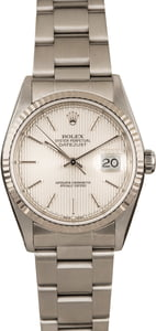 Pre-Owned Rolex DateJust 16234 Silver Tapestry Dial