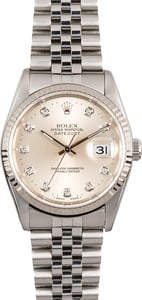 Rolex Datejust 16234 Silver Diamond Dial