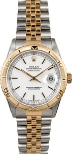 Rolex Datejust White Dial Turn-O-Graph 16263
