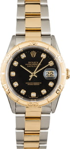 Used Rolex Datejust Turn-O-Graph 16263 Black Diamond Dial