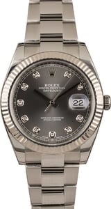 Used Rolex Datejust 41 Ref 126334 Dark Rhodium Diamond Dial